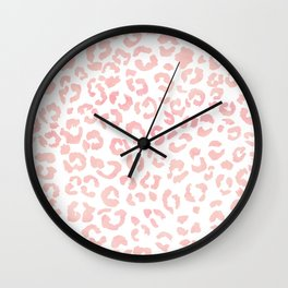 Blush pink modern leopard pattern watercolorpattern Wall Clock