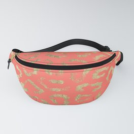 Modern coral faux gold cheetah animal print Fanny Pack
