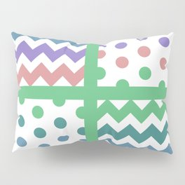 White/Multicolor Chevron/Polkadot 3 Teal Green Purple Blue Muted Color Palette Pillow Sham