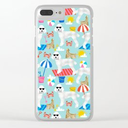 Poodle white coat beach fun in the sun dog breed pet portraits pet friendly dog breeds Clear iPhone Case