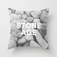 queens of the stone age Throw Pillows featuring Stone Age by Concept Phi