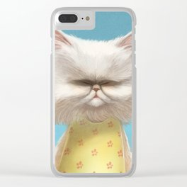 A cat holding a flower Clear iPhone Case