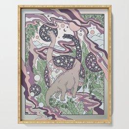 Jurassic Portal | Purple Haze Palette | Dinosaur Science Fiction Art Serving Tray