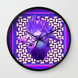 Spring Lilac-Purple Iris Flower Purple Pattern. Wall Clock
