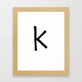 K Monogram (Hand 2) Framed Art Print