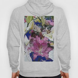 PURPLE & WHITE ASIAN GARDEN LILIES DRAWING Hoody