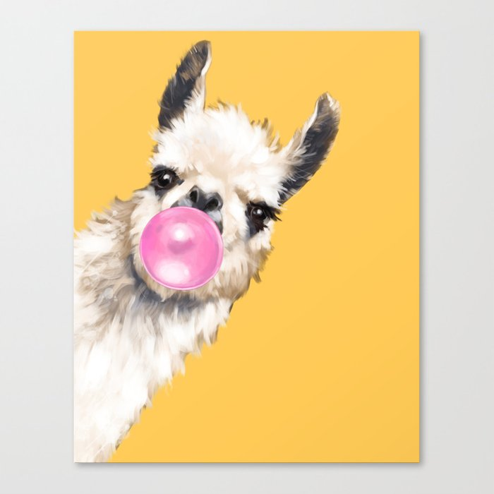 Bubble Gum Sneaky Llama in Yellow Leinwanddruck