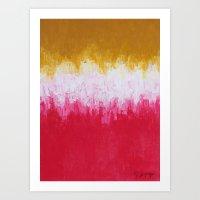 Pink & Yellow Abstract Art Print