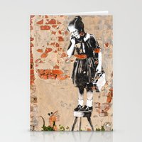 banksy Stationery Cards featuring Banksy - Girl on Stool by Brandon Funkhouser