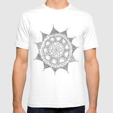 Black and White Circle Doodle White Mens Fitted Tee MEDIUM