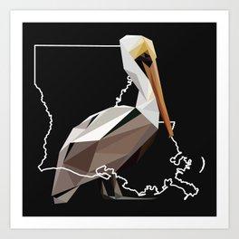 Louisiana – Brown Pelican (Black) Art Print