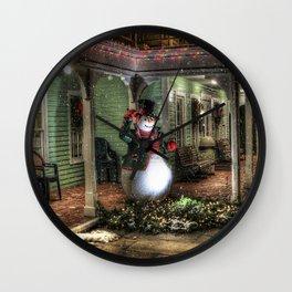 Snowman Greetings Wall Clock