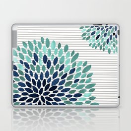 Blooms and Stripes, Aqua and Navy Laptop & iPad Skin