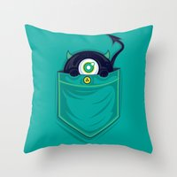 pocket Throw Pillows featuring Pocket Monster by Steven Toang