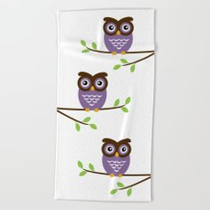 Purple Owl Beach Towel