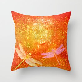 Dragonflies the forgotten clearing Throw Pillow