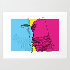 Primary kiss Art Print