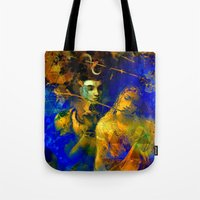 hindu Tote Bags featuring Shiva The Auspicious One - The Hindu God by sarvesh
