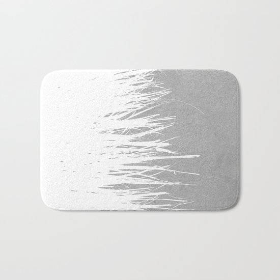 Concrete Fringe White Side Bath Mat