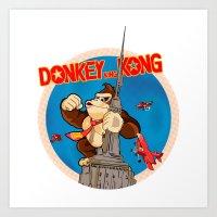 donkey kong Art Prints featuring Donkey King Kong by Vickn