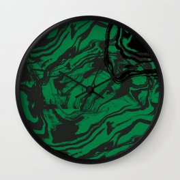 Suminagashi marble malachite green marbled pattern spilled ink abstract art Wall Clock