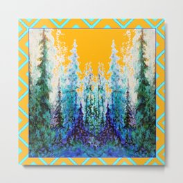 Western Gold  Modern Art Mountain Trees Blue  Art Metal Print