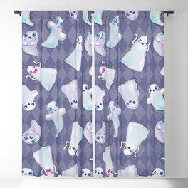 Cute Halloween Kawaii Ghost Pattern on Blue Blackout Curtain