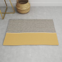 Texture - Black Stripes Gold Rug