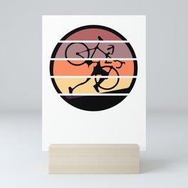 Retro Ultra Cycling - Great Cycling Gift - Retro Colors & Black Logo Design - Segmented Look Mini Art Print