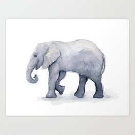 Elephant Watercolor Art Print
