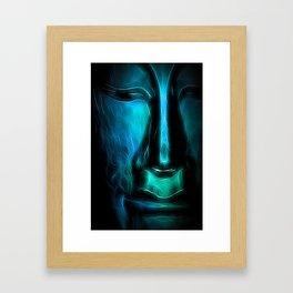 BuddhaFace cyanblue Framed Art Print