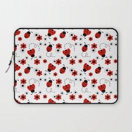 Red Ladybug Floral Pattern Laptop Sleeve