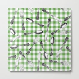 Utensils on Green Picnic Blanket Metal Print