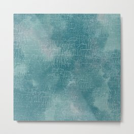 Grunge Abstract Art in Turquoise and Sea Foam Metal Print