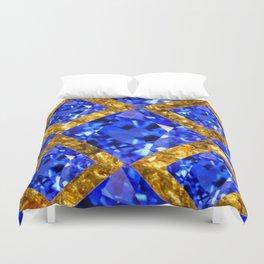 ASYMMETRIC ROYAL BLUE SAPPHIRE GEMSTONES ART ON GOLD Duvet Cover