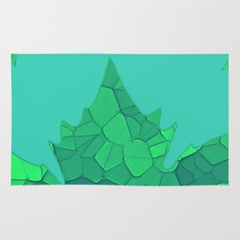 Stained Glass Tiffany style Sycamore leaves on green Rug