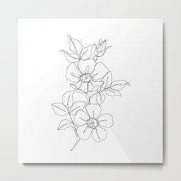 Floral one line drawing - Rose Metal Print