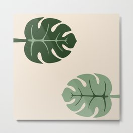 Tropical leaves Monstera deliciosa beige Metal Print