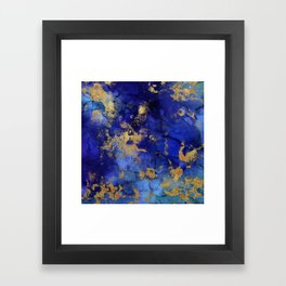 Gold And Blue Indigo Malachite Marble Framed Art Print