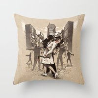 zombies Throw Pillows featuring Zombies by Ronan Lynam