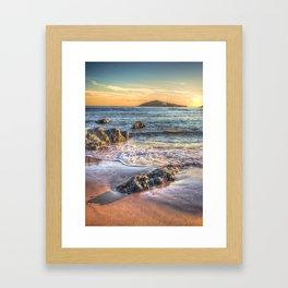 Sunset over Burgh Island from Bantham Framed Art Print