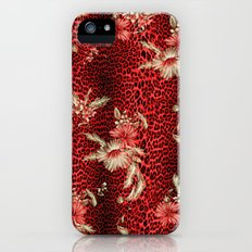 Wild Red Leopard and Flowers iPhone SE Slim Case