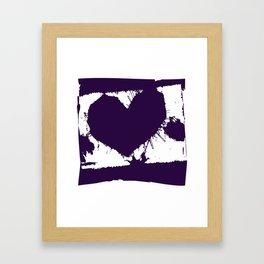 Purple Ink Multi Splatter Heart Design Framed Art Print