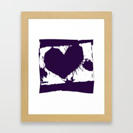 Purple Ink Multi Splatter Heart Design Framed Art Print