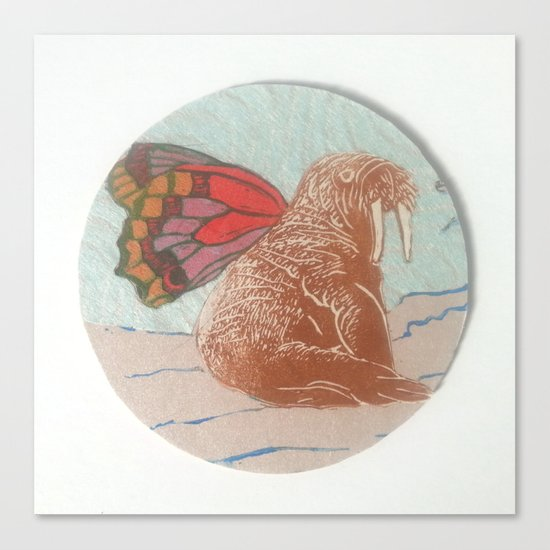 Winged Walrus Canvas Print