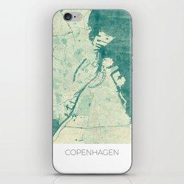 Copenhagen Map Blue Vintage iPhone Skin