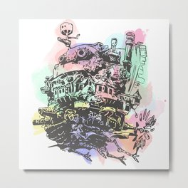Colourful Moving Castle Metal Print