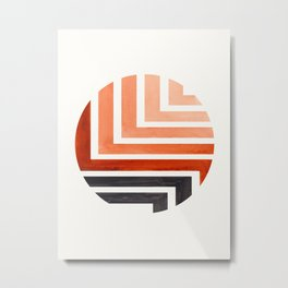 Burnt Sienna Circle Round Framed Mid Century Modern Aztec Geometric Pattern Maze Metal Print