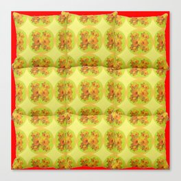 Quilted Style Lime Green Art Yellow Daffodils  Pattern Canvas Print