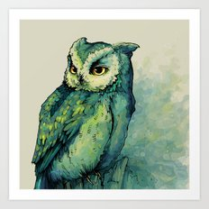Green Owl Art Print